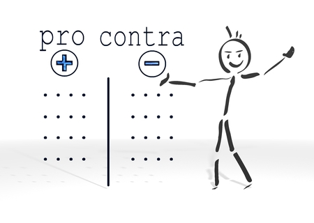 simple stick man presents a pro contra symbol white background photo