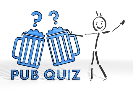 scribble stick man presents a pub quiz symbol white background Stock Photo