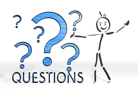 scribble stick man presents a question sign white background Stock Photo