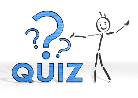 scribble stick man presents a quiz sign white background