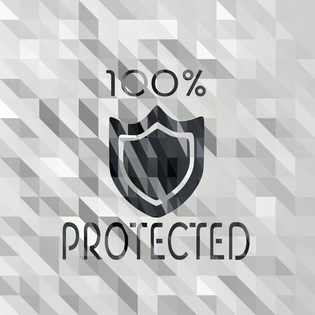 shielded: black white low poly protected illustration with creative triangle  Stock Photo