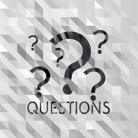 any: black white low poly question illustration with different triangle background  Stock Photo