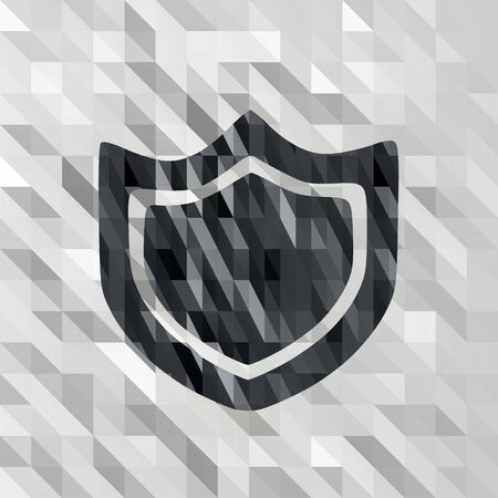 shielded: black white low poly protection sign with shielded triangle background  Stock Photo