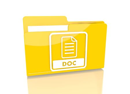 it is isolated: a 3d rendered icon showing a file folder with a doc sign on it isolated on white background