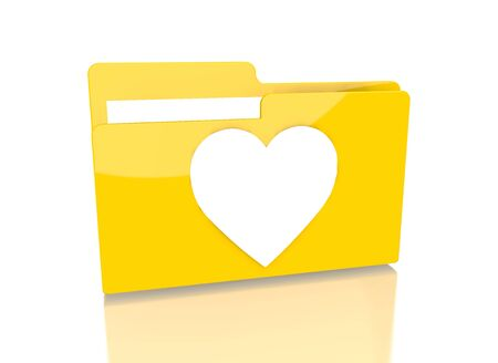 it is isolated: a 3d rendered icon showing a file folder with a heart sign on it isolated on white background