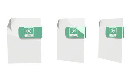 avi: three 3d icons of a file avi file documents in various perspective isolated on white background
