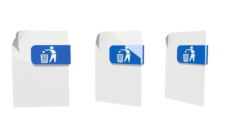 cast off: three 3d icons of a file delete documents in various perspective isolated on white background