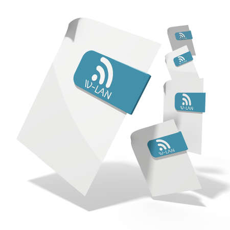 wlan: pile of flying 3d icons for wlan documents in various perspective isolated on white background Stock Photo