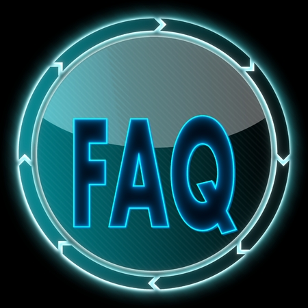 futuristic round button with a faq sign on it and circular arrows on black background photo