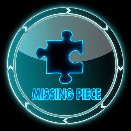 missing piece: bot�n redondo creativo con un icono de pieza que falta en �l y flechas circulares sobre fondo negro