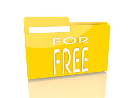 a 3d rendered icon showing a file folder with a free symbol on it isolated on white background photo