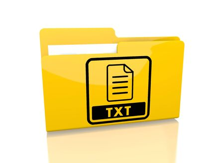 txt: a 3d rendered icon showing a file folder with a txt file symbol on it isolated on white background