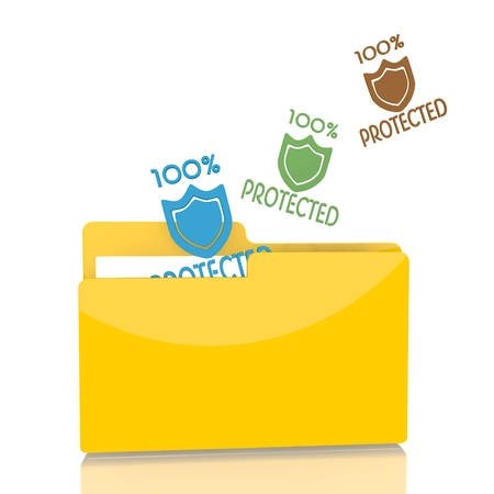 shielded: isolated 3d file folder with three protected symbol flying into it