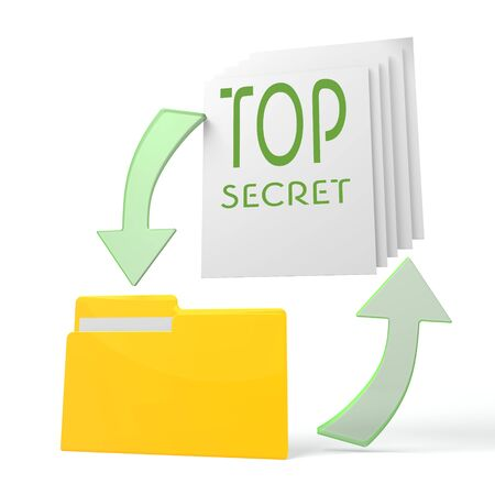 arcane: isolated 3d file folder with top secret sign on documents with symbol for upload and download