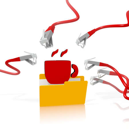 a 3d file folder with a red coffee in it isolated on white background is attacked and hacked by network cables photo