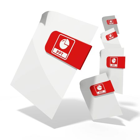 ppt: pile of flying 3d icons for ppt documents in various perspective isolated on white background