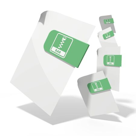 rar: pile of flying 3d icons for rar file documents in various perspective isolated on white background Stock Photo