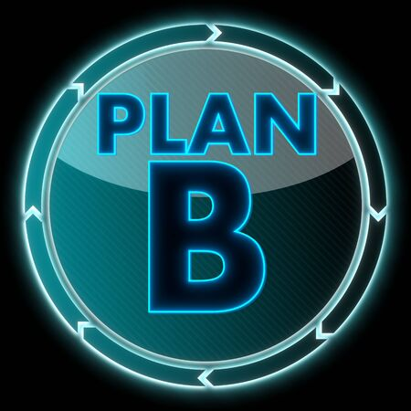 electronic round button with a plan b symbol on it and circular arrows on black background photo