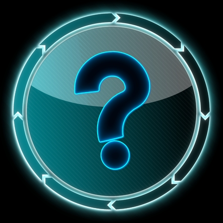 unresolved: glowing round button with a question sign on it and circular arrows on black background