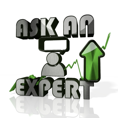 3d rendered sign of ask an expert currency with up stock market trend arrows in stylish silver metal isolated on white background photo