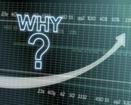 reasons: successful investmanet chart with a why symbol on a stock market table with rising graph arrow Stock Photo
