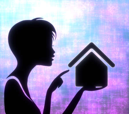 glaring: silhouette of a creative girl presenting a glaring building on modern fresh pink blue background