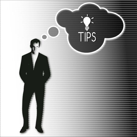 illustration of a businessman thinking a tip vision.on a stylish striped black white background illustration