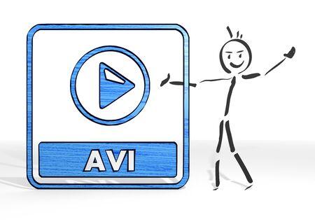 avi: hand drawn stick man presents a avi file sign white background