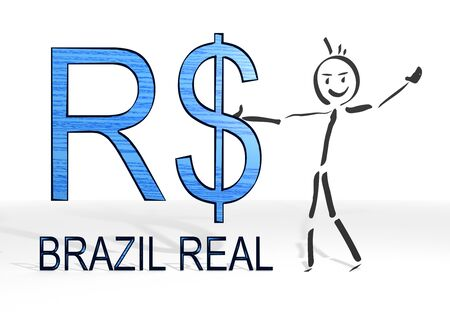 hand drawn stick man presents a Brazil Real sign white background photo