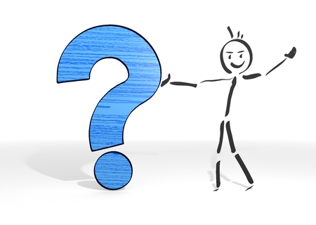 simple stick man presents a question symbol white background photo