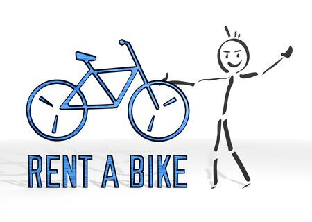 simple stick man presents a rent a bike symbol white background photo