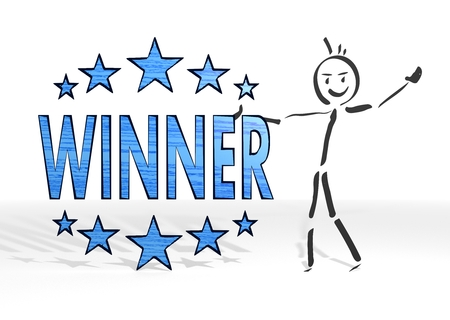 simple stick man presents a winner symbol white background photo