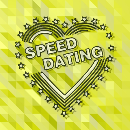 speed dating: fresh green low poly triangle speed dating symbol with art background