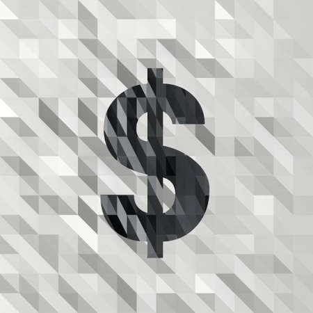 3d triangle: black white low poly Dollar illustration with 3d triangle background  Stock Photo