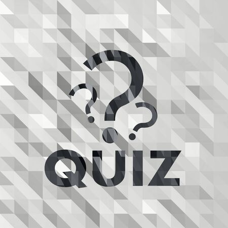 black white low poly quiz sign with 3d triangle background  photo