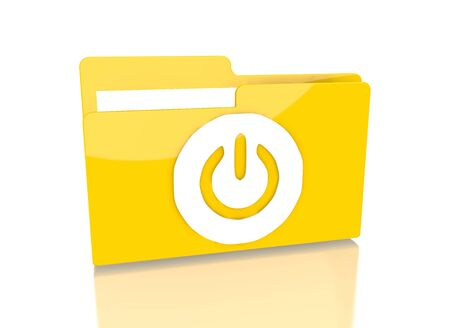 it is isolated: a 3d rendered icon showing a file folder with a on symbol on it isolated on white background Stock Photo
