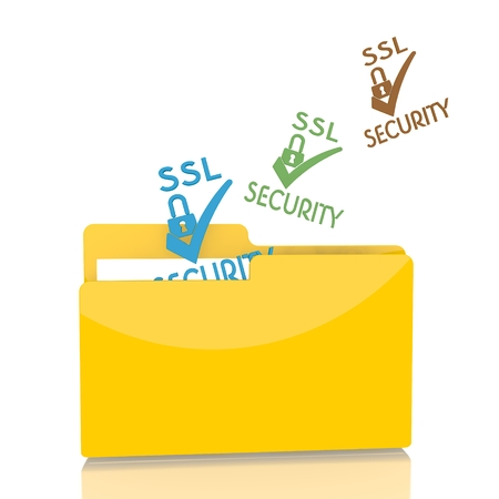 isolated 3d file folder with three SSL symbol flying into it