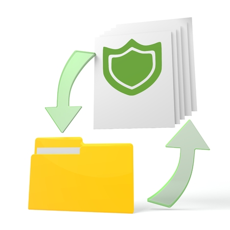 shielded: isolated 3d file folder with protection symbol on documents with symbol for upload and download Stock Photo