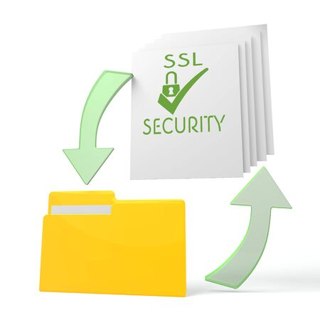 ciphering: isolated 3d file folder with SSL sign on documents with symbol for upload and download