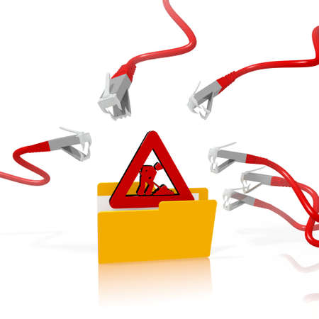 attacked: a 3d file folder with a red construction site in it isolated on white background is attacked and hacked by network cables Stock Photo