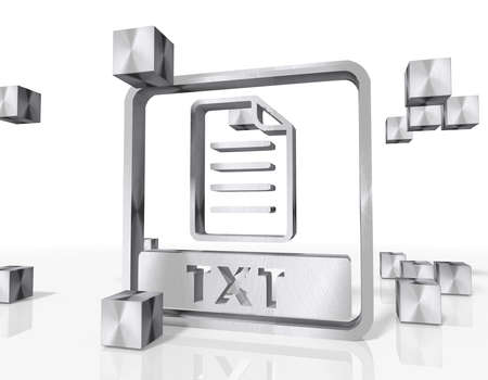 txt: 3d rendered txt file symbol constructed out of metallic faces. A symbol txt file builds up in the middle of the scene surrounded by steel cubes on white background