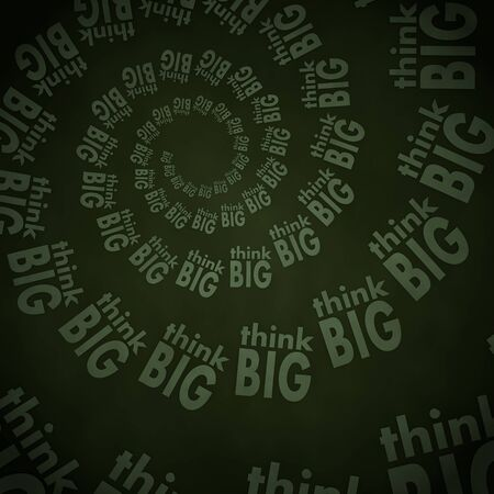 smoky black: Smoky black  soft spiral 3d graphic with soft think big label  on vintage background Stock Photo