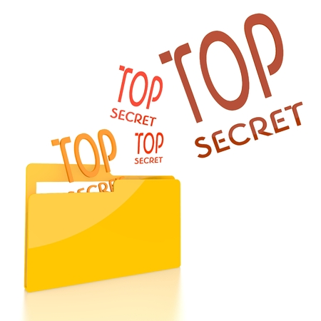 arcane: isolated 3d file folder with three top secret symbol flying into it Stock Photo