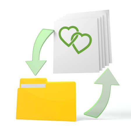 romance strategies: isolated 3d file folder with two hearts sign on documents with symbol for upload and download