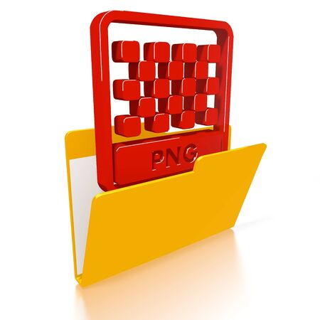 png: 3d icon of a file folder with a red png file symbol in it isolated on white background Stock Photo