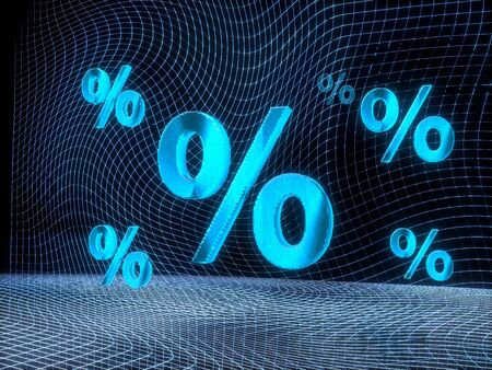 rebate: futuristic internet 3d rendering of a percent symbol constructed out of electronic faces in cyber space. A symbol percent builds up in the middle of the scene surrounded by digital data network on black background