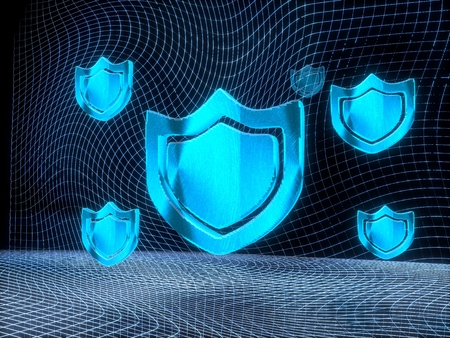 shielded: shielded internet 3d rendering of a protection sign constructed out of electronic faces in cyber space. A sign protection builds up in the middle of the scene surrounded by digital data network on black background