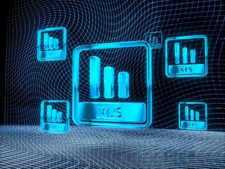 futuristic internet 3d rendering of a xls symbol constructed out of electronic faces in cyber space. A symbol xls builds up in the middle of the scene surrounded by digital data network on black background Stock Photo