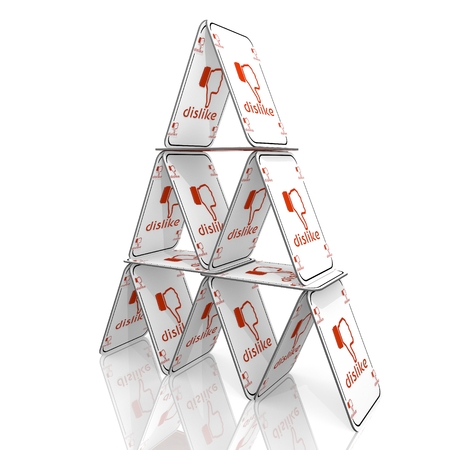 balanced: White  fragile casino 3d graphic with balanced dislike icon  on a card house