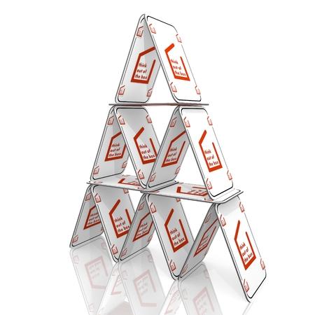 out think: Blanco met�fora diferente 3d gr�fico con aisladas pensar fuera de la caja en un s�mbolo de la casa de tarjetas Foto de archivo